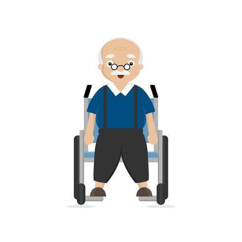 Alter Mann im Rollstuhl deaktiviert vektor