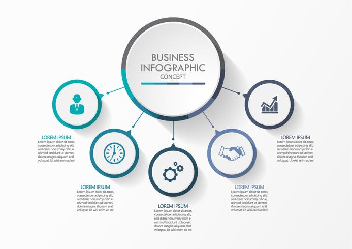 Business cirkel. Tidslinje infografiska ikoner avsedda för abstrakt bakgrundsmall vektor