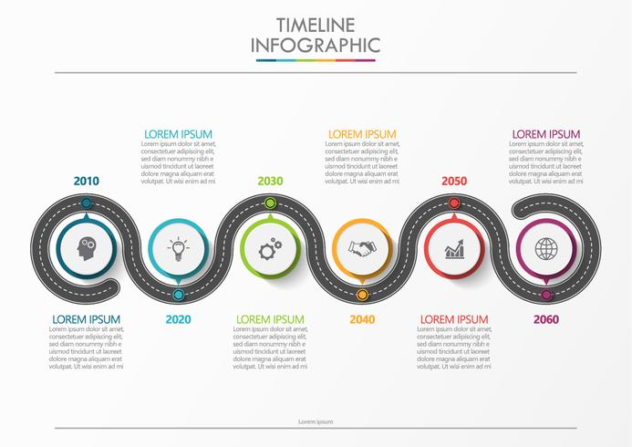 Business road map. Tidslinje infografiska ikoner avsedda för abstrakt bakgrundsmall vektor