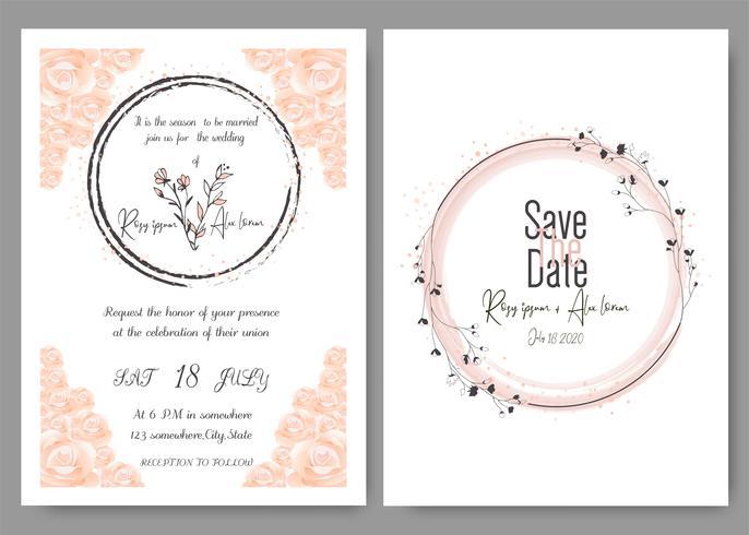 Bröllop inbjudningskort Blommigt handgjorda ram. Grönbröllopinbjudan, Eucalyptusbröllopinbjudan för mall Eucalyptus. vektor