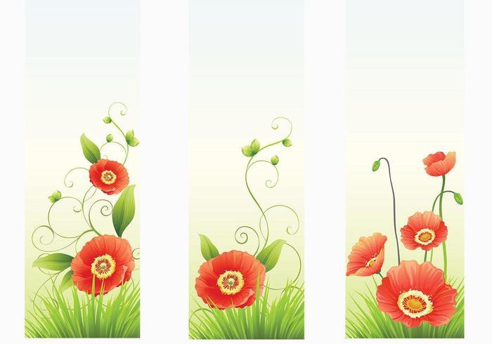 Red Poppy Banner Vektoren