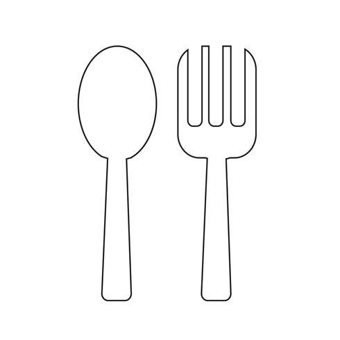 Sked och gaffel ikon Vektor illustration