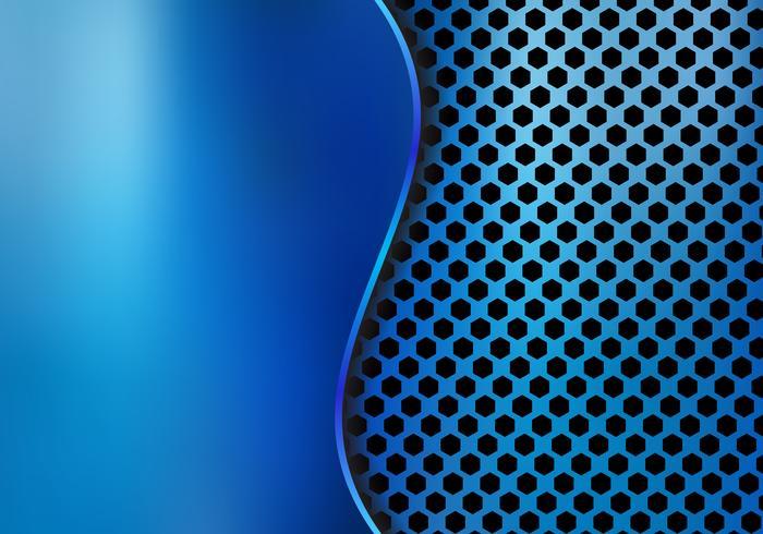 Abstrakt blå metallisk metallbakgrund gjord av sexkantsmönsterstruktur med kurvplåt. Geometrisk struktur vektor