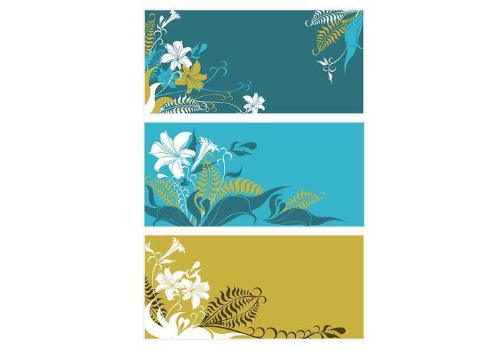 Farn und Lilie Vektor Hintergrund Pack
