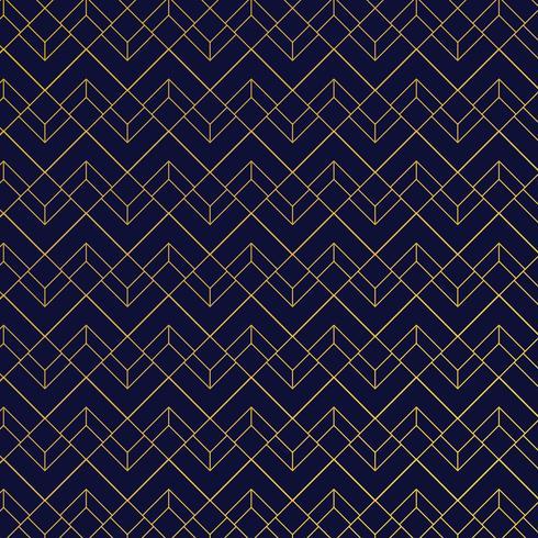 Guld geometriskt mönster med linjer på mörkblå bakgrund art deco stil vektor