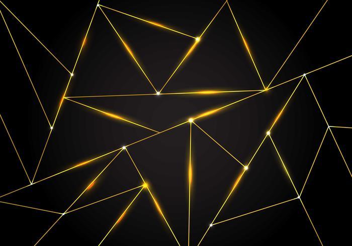 Lyxigt polygonalt mönster och guld trianglar linjer med belysning på mörk bakgrund. Geometriska lågpolygongradientformer. vektor