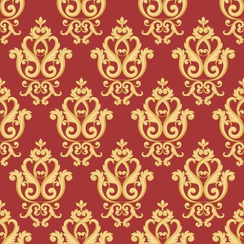 Nahtloses Damastmuster. Gold und rote Textur vektor