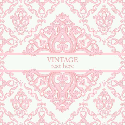 Schablonenkarte mit abstraktem barockem königlichem Hintergrund in den rosa und weißen Farben. vektor