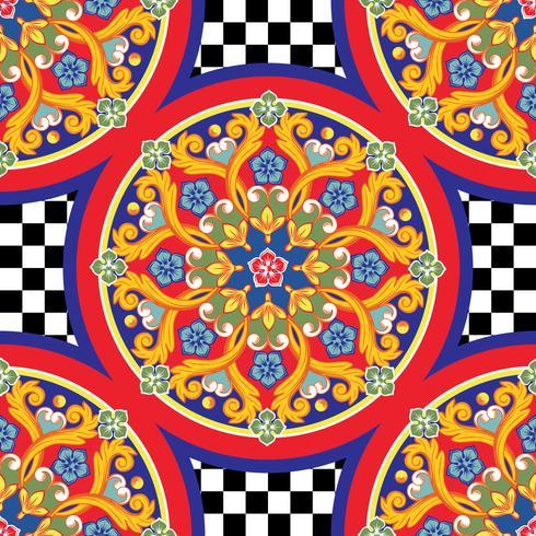 Sömlös trendig ljus bakgrund. Färgrik etnisk rund prydnadsmandala på rutigt mönster. Vektor illustration