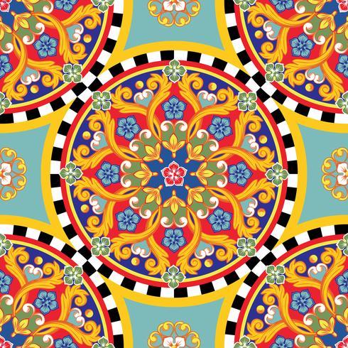 Sömlös ljus bakgrund. Färgrik etnisk rund prydnadsmandala. Trendigt mönster. Vektor illustration