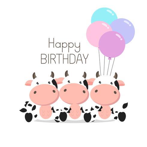 Geburtstagsgrußkarte Nette Kühe mit Ballonen vektor