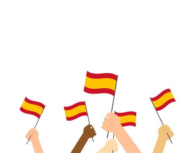 Vektor illustration händer som håller Spanien flaggor isolerad på vit bakgrund