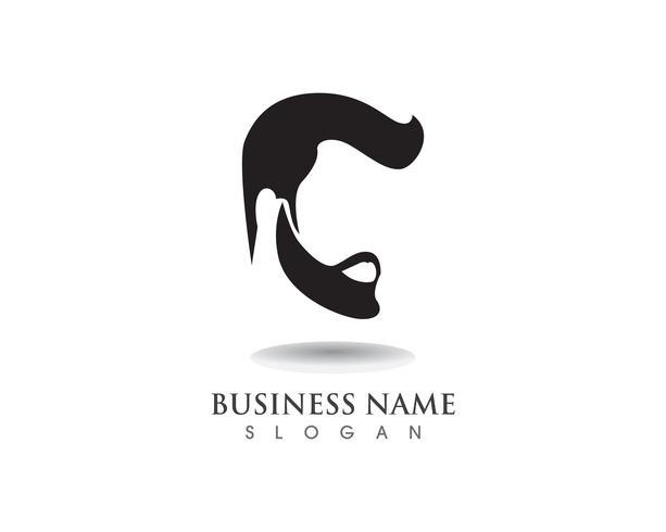 maskuliner Bart, schwarzes Haar, Geek-Logo und Symbol vektor