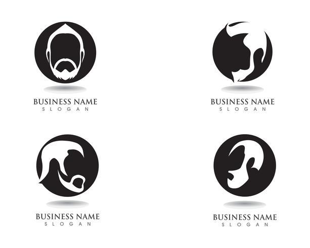 masculine bart black hair geek logo och symbol vektor