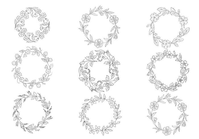 Handdragen kransvektorpaket vektor