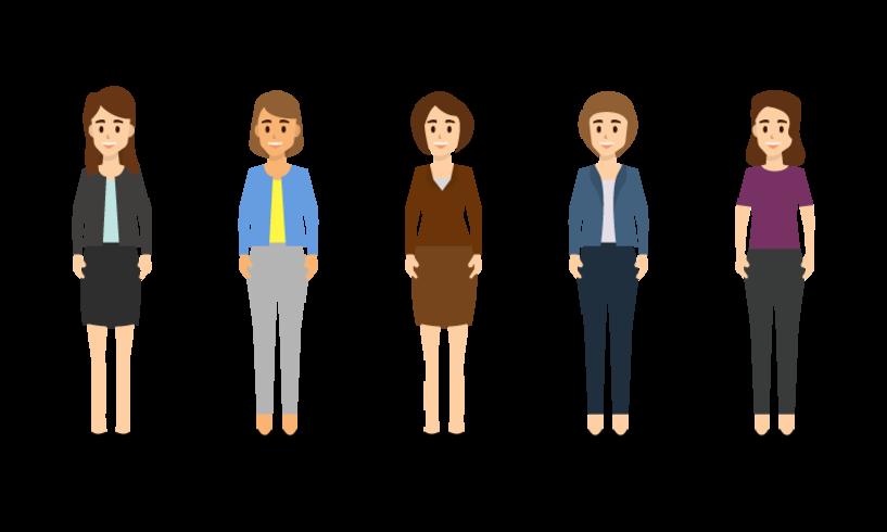 Affärskvinna karaktär i olika inställningar. vektor