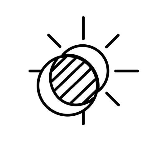 Sonnen- und Mondfinsternis-Ikonen-Vektor vektor