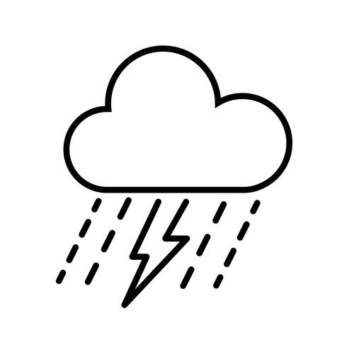 Cloud, Rain och Thunderbolt Icon Vector