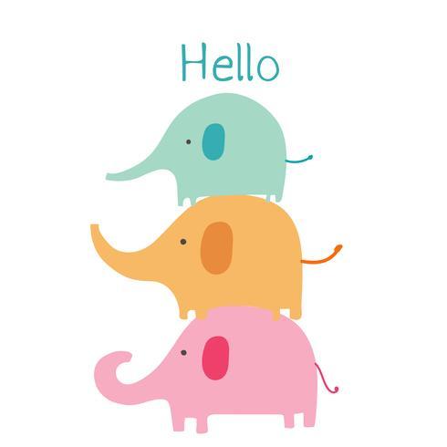 Söt elefant med säg hej. Barn djur karaktär vektor illustration