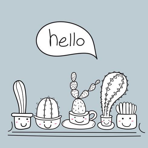 Söt kaktus med gott ansikte säga hej. vektor illustration uppsättning.