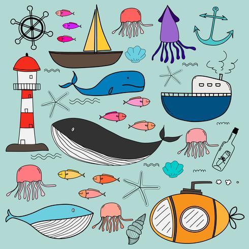 Handdragen havsdoodles Set. Vektor illustration.