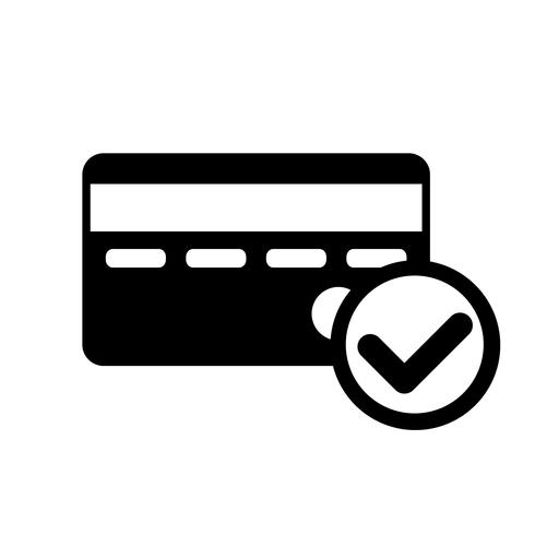 Kreditkarte genehmigter Ikonen-Vektor vektor
