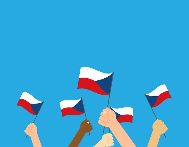 Vector die Illustrationshände, die Flaggen der Tschechischen Republik auf blauem Hintergrund halten