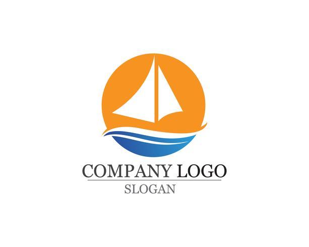 Ocean kryssning linjeskip silhuett enkel linjär logotyp vektor