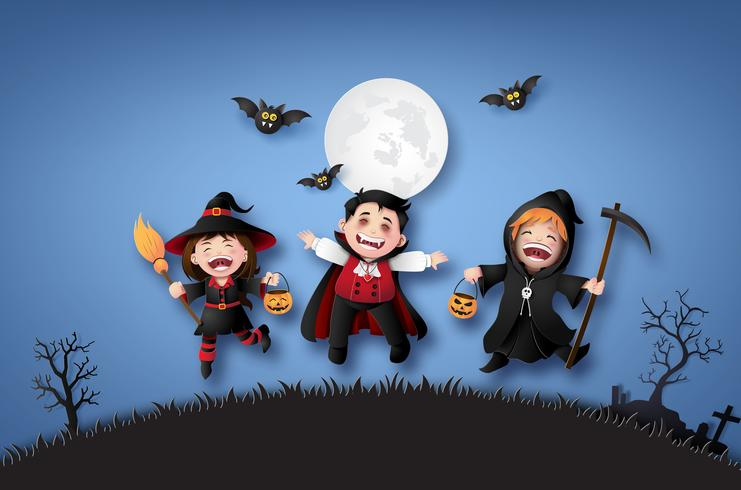 barn i halloween kostymer. vektor