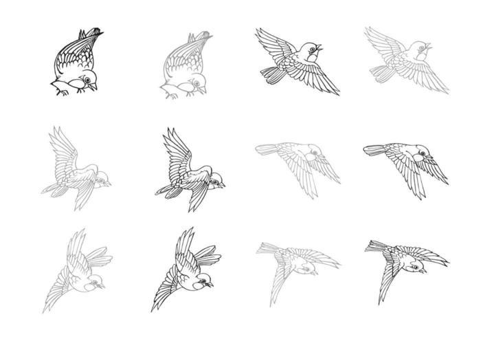 Hand gezeichneter Fliegen-Vogel-Vektor-Satz vektor