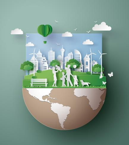 Papierkunstkonzept von umweltfreundlichem, retten die Erde vektor
