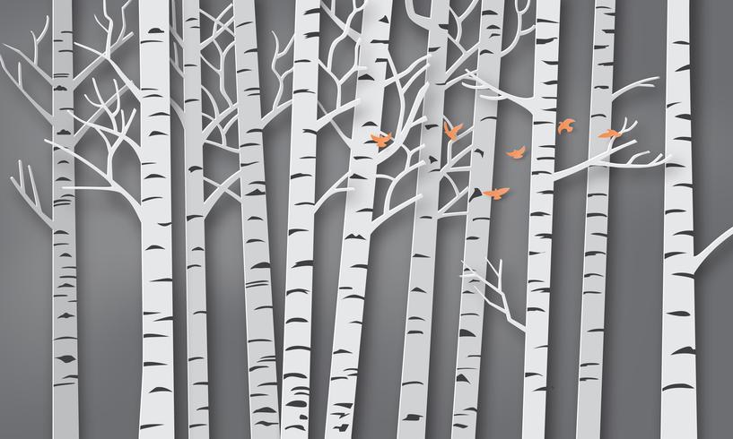 Vogel fliegen in den Wald vektor