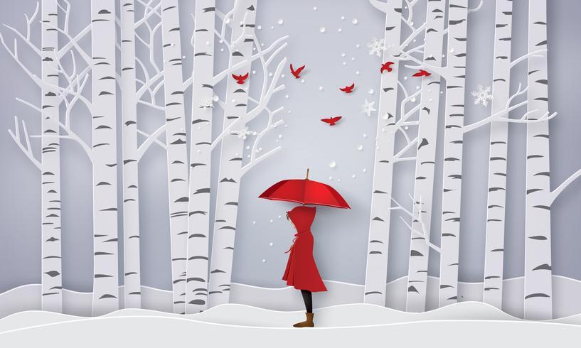 säsong med flickan öppna rött ett paraply vektor