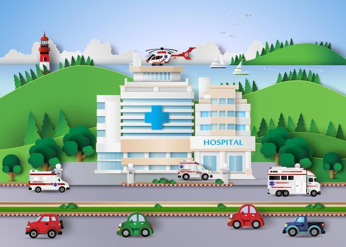 Krankenhausgebäude Papierschnitt vektor