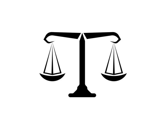 Gerechtigkeitsrechtsanwaltslogo und Symbolschablonenikonen-APP vektor