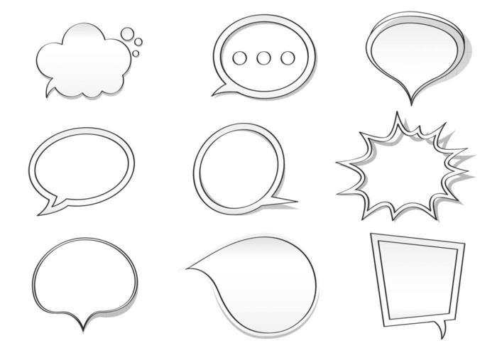 Hand gezeichneter Spracheblasen-Vektor-Satz vektor