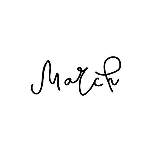 Hand gezeichnete Art Beschriftungsphrasen März vektor