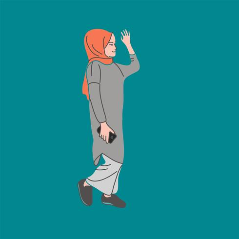 Moslemische Leute, Frau, Mädchen und Mann vector Illustration