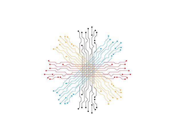 Stromkreisillustrationsdesignlogo und Symbolvektor vektor