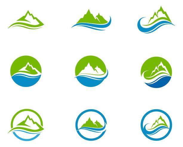Berg och vatten Logo Business Mall Vector