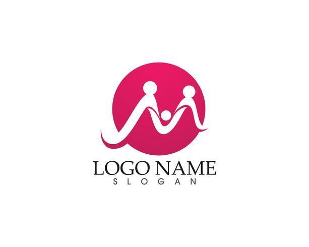 M familjvård brevvåg Logo mall vektor illustration