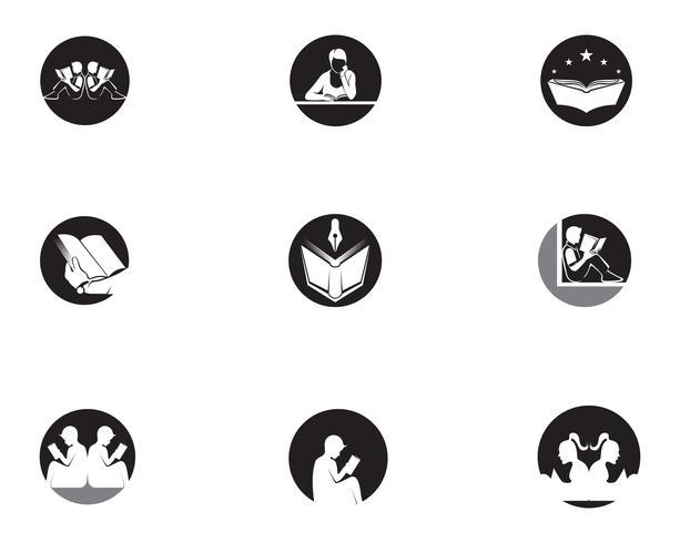 Läsa Boklogotyp och symboler Silhouette Illustration svart. vektor