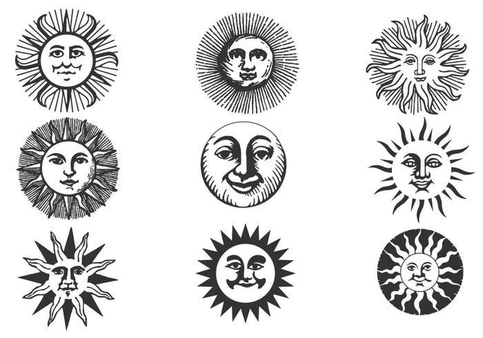 Handdragen gammal Sun Vector Pack
