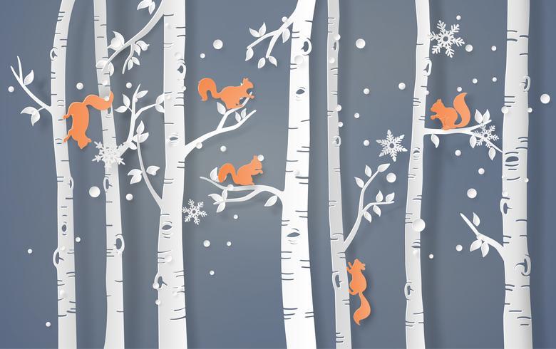 ekorre klättrar på trädet vektor