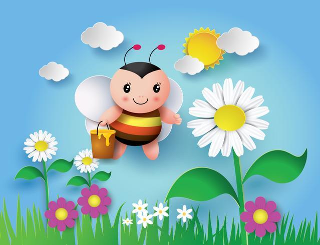 Bee flyger runt med en brimfulla burk av läcker honung vektor