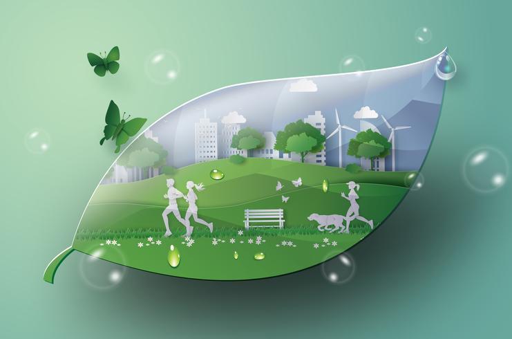 grön stad i bladet. vektor