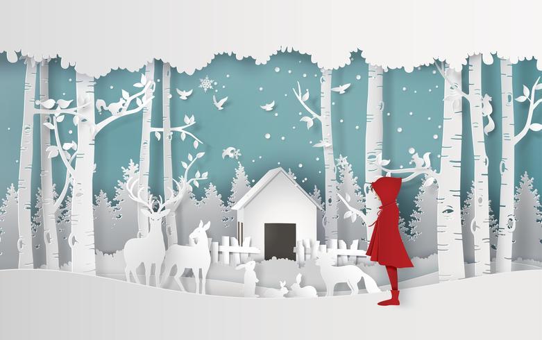 Wintersaison mit dem Mädchen vektor
