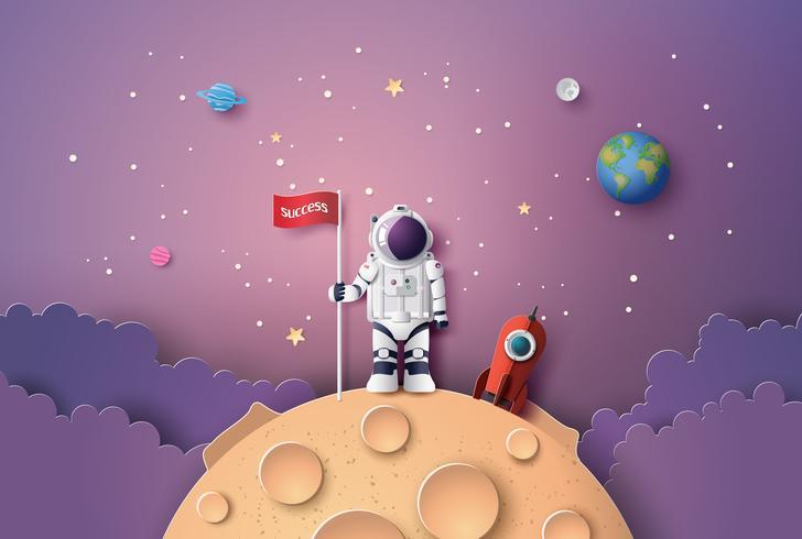 Astronaut med flagga på månen, vektor