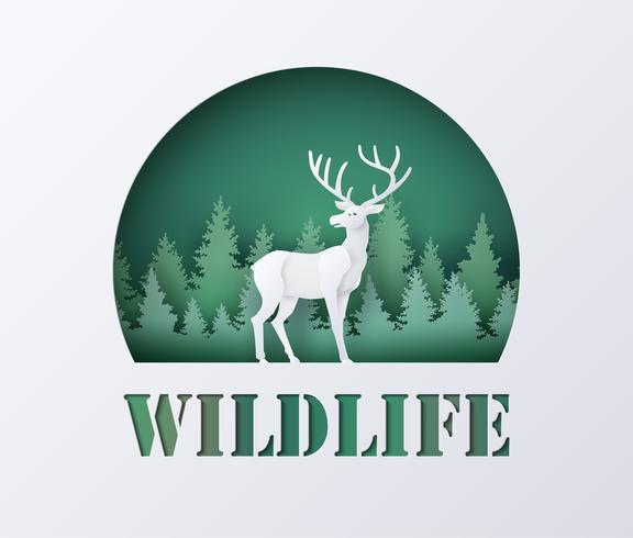 Welttag der wild lebenden Tiere mit Rotwild im Wald vektor