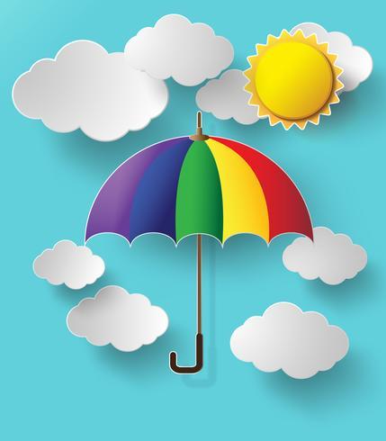bunter Regenschirm, der hoch in die Luft fliegt vektor